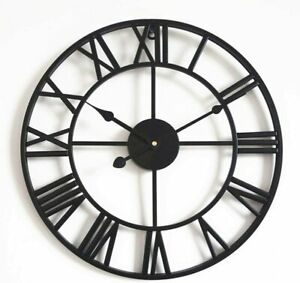 60/70CM LARGE OUTDOOR GARDEN BIG ROMAN NUMERALS WALL CLOCK GIANT OPEN FACE ROUND