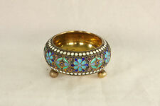 ANTIQUE 84 SILVER RUSSIAN ENAMEL 3 FOOTED OPEN SALT CELLAR DIP DISH 1898-1908