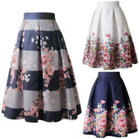 Womens Swing A Line Floral High Waist Retro Vintage Midi Skirt Flared Ball Gown