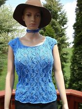 Women's hand lace knitted blue color sleeveless blouse tank Size S/M new
