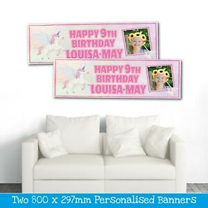 2 PERSONALISED PINK UNICORN PHOTO BIRTHDAY BANNERS - ANY NAME/AGE (800X297MM)