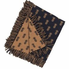 New Primitive Colonial Style BLACK PINEAPPLE THROW Woven Coverlet Blanket