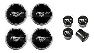 2005-14 Mustang Chrome Running Horse Wheel Center Caps w/ Black Valve Stem Caps