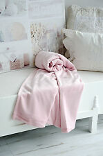 Decke Enzo Rosé Chalk Pink Plüsch Kuscheldecke Tagesdecke Landhaus shabby
