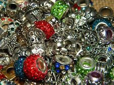 NEW (100/pcs lot) Charms METAL Rhinestone & European RANDOM Style MIX BEADS