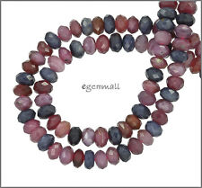 """142ct Natural Ruby & Sapphire Round Faceted Beads ap. 6mm 16"""" #85414"""