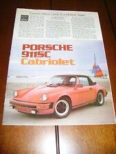 1983 PORSCHE 911SC CABRIOLET ***ORIGINAL ARTICLE / ROAD TEST***
