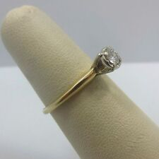 14k yellow GOLD 1/5 ct round diamond G Si1 .20 carat engagement ring women band