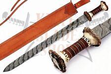 Damascus STEEL BLADE HANDMADE GLADIUS SWORD CROWN STAG HORN & LEATHER HANDLE