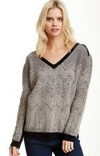 INHABIT NY MERINO WOOL HERRINGBONE GREY SWEATER MEDIUM