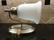 Qty 4 NEW Satin Brushed Nickel Wall Sconces Alabaster Glass Shade, Light Fixture