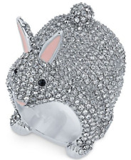 Authentic Kate Spade Make Magic Silver-Tone Crystal Bunny Ring Size 8