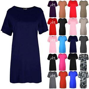 Womens Ladies Short Sleeve Baggy Oversized Round Neck Tunic Mini T Shirt Dress