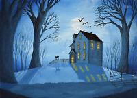 Halloween 5x7 print art black cat bat woods haunted house moon Sleepy Hollow DC