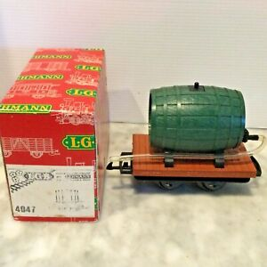LGB G SCALE 4047 FLAT CAR WIRH WINE BARREL IN BOX
