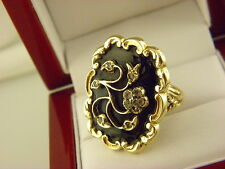 Stunning Antique French  Black Enamel Rose Cut Diamond Ring in 14k Yellow Gold.