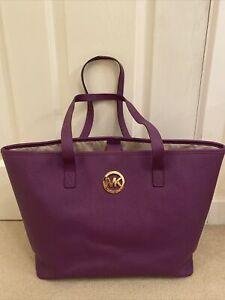 Large Purple Michael Kors Shoulder Leather Tote Bag