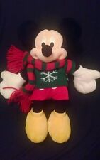 "DISNEY STORE 16"" Plush SIGNATURE MICKEY MOUSE Winter Christmas Scarf Sweater"