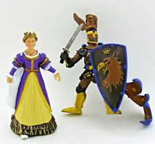 2 Papo medieval fantasy figures blue eagle knight sword shield purple Queen
