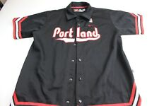 Nike Embroidered Portland Nba Basketball Snap Button Thick Jersey Shirt Xl Fit L