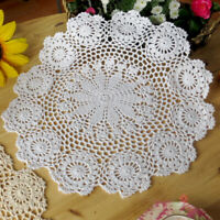 37cm Vintage Floral Hand Crochet Cotton White Doily Round Flower Table Placemat