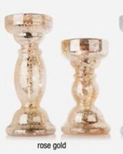 Winter Lane Set of 2 Lighted Mercury Glass Finish Candleholders Rose Gold