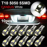 10x T10 LED 5 SMD Light Bulb Canbus 6000K White W5W 194 168 License plate Lamp