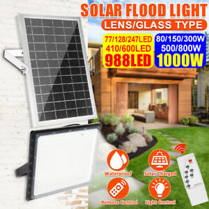 410/600/988 LED Solar Flood Light Garden Street Wall Lamp Light Control+Remote W
