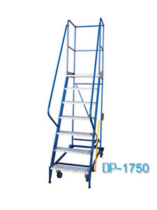Fahrbare Podestleiter Treppen mit Rollen 6 Stufe Stahl Leiter Plattform DP175