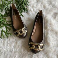 Diane Von Furstenberg DVF Gold Metallic Chain Link Ballet Flats Size 6