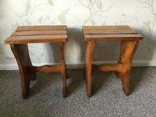 Pair Of Wooden Slatted Stools