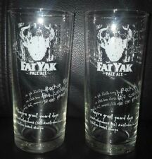 PAIR OF RARE COLLECTABLE FAT YAK PALE ALE 425ML BEER GLASSES GOOD USED CONDITION