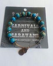 Alex and Ani AQUA Bangle Bracelet Carousel Crystal Turquoise Beaded RETIRED