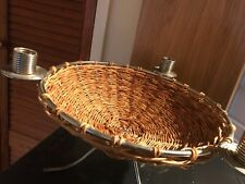 metal frame wicker bowl, candle holder