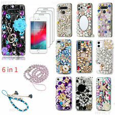 6 in 1 Bling Phone Case & 3 Glass Screen Protector Films & 2 Crystals Lanyards H