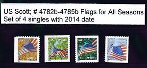 US Scott # 4782b - 4785b  2014 Forever Flag For All Seasons set of 4 Singles