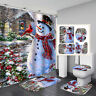 Christmas Snowman Print Waterproof Bathroom Shower Curtain Toilet Cover Mat Set