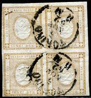 Regno d'Italia 1862 n. 10c - 2 cent. giallo - quartina usata (s003)