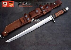 """Custom rare art D2 STEEL KNIFE Survival Hunting BOWIE Sword WITH REAL Wood 20 """""""