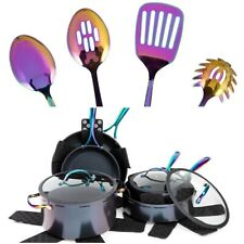 Rainbow Stainless Steel Utensils and Cookware Set 12PC Iridescent Multicolor
