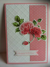 Handmade female birthday card with roses. Design #4 light pink.