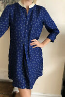 Beautiful 100% Silk Shirt dress NW3 Hobbs Blue Paper pin Print Uk 10
