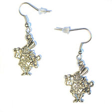 """the WHITE RABBIT 1"""" Charm Silver Plated hook Earrings Alice In Wonderland"""