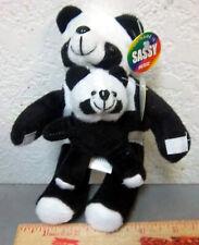 "Plush Mom & Baby Panda Bear, 7 "" long, New & unused stuffed dolls w nametags"