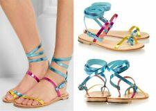 ALVARO Yellow Blue Pink Metallic Strap Sandals Shoes