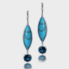 925 Sterling Silver Arizona Turquoise With London Blue Topaz Dangle Earrings