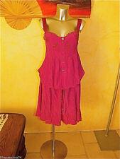 HIGH USE lujosa vestido ajustable de seda rosa TALLA 42 fr 46i nuevo valor