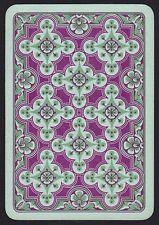 1 Single ANTIQUE Playing/Swap Card OLD WIDE FLORAL DESIGN H/Bone Green/Purple
