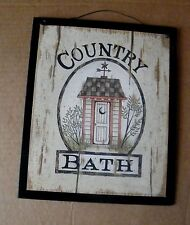 Primitive COUNTRY BATH Wood Bathroom Outhouse wooden Art Decor wood Sign 9x11""