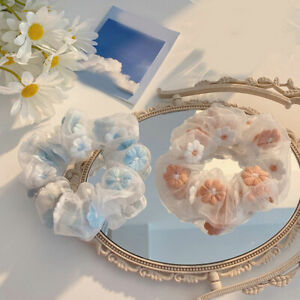Organza Floral Embroidery Hair Ring Rope Ties Mesh Ponytail Headwear Rubber Band
